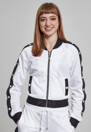 Ladies Button Up Track Jacket - Wit
