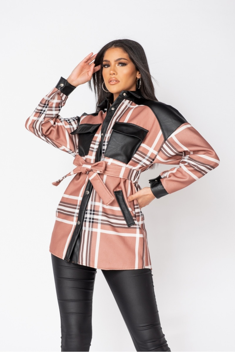 Faux Leather Checked Trim Belted Jacket - Beige