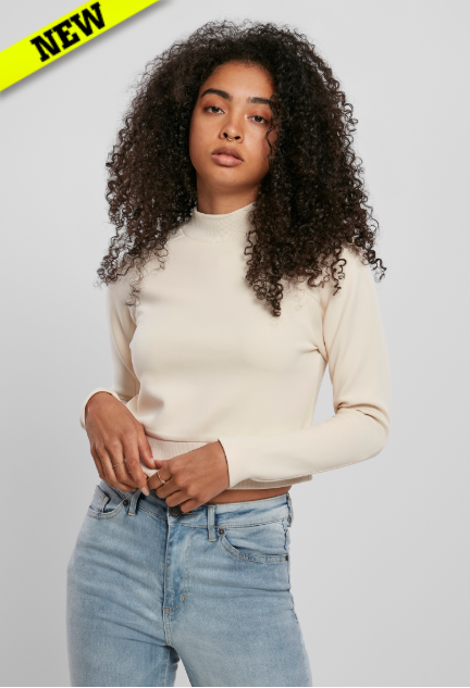 Ladies Interlock Short Turtleneck Crew - Zand