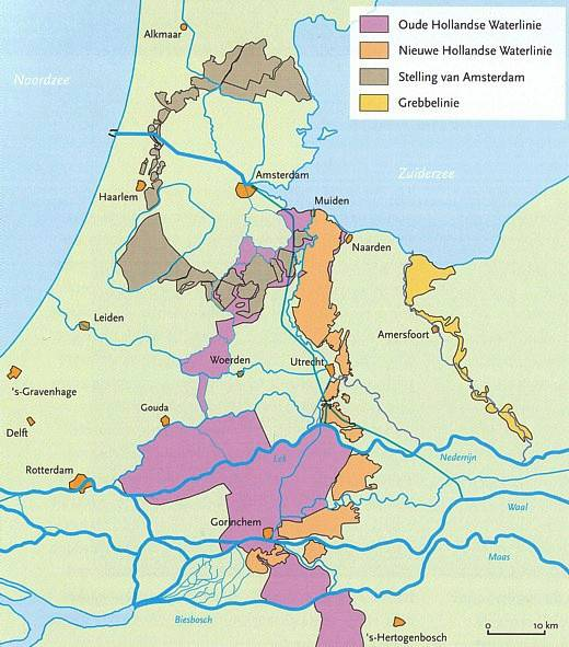 Map of the 'Waterlinie' of the Netherlands