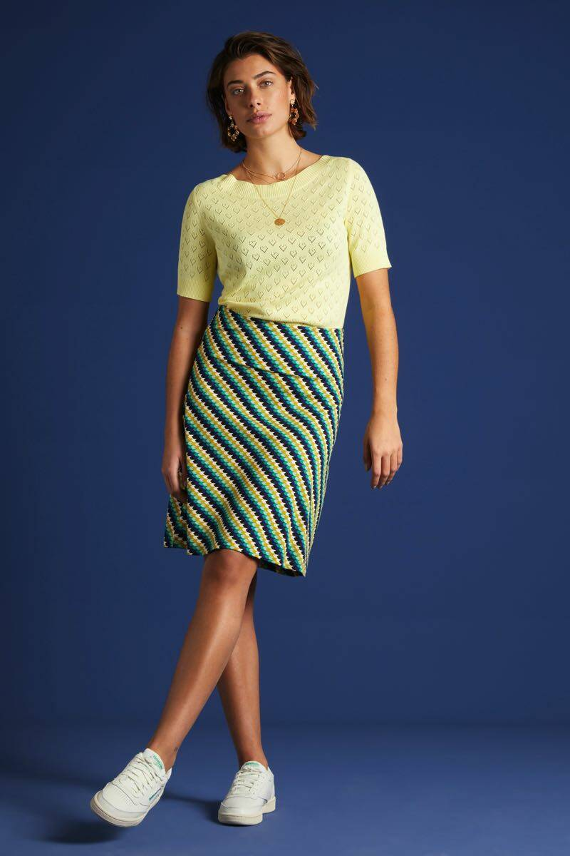King Louie Audrey Top Heart Ajour 03887-882 Yellow Pear