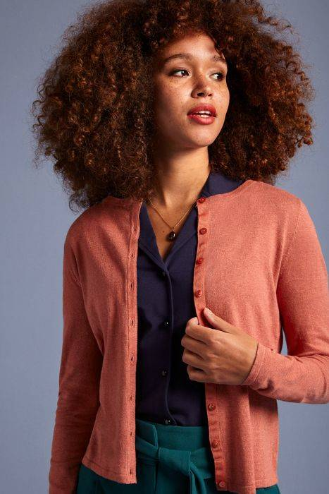 King Louie cardi roundneck cocoon dusty rose 00139 765