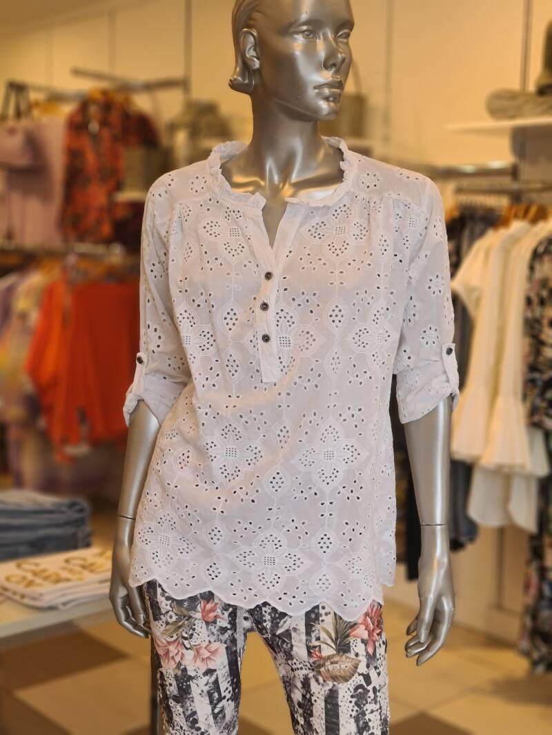 Top Broderie Wit