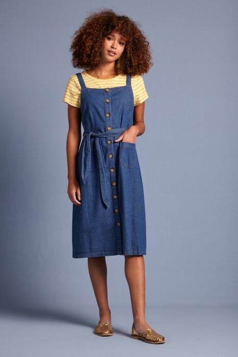 King Louie Beth pinafore dress chambray