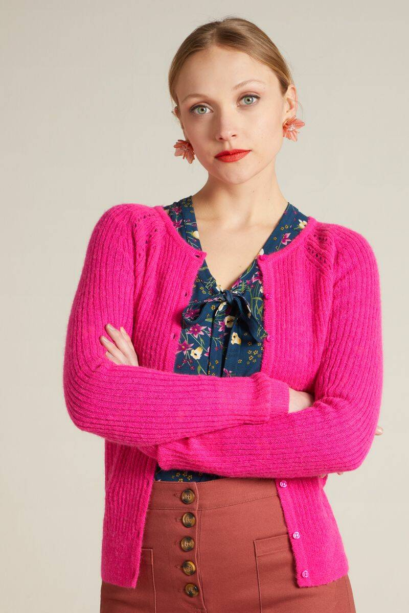 King Louie cardi roundneck fluffy 05905-753 neon pink