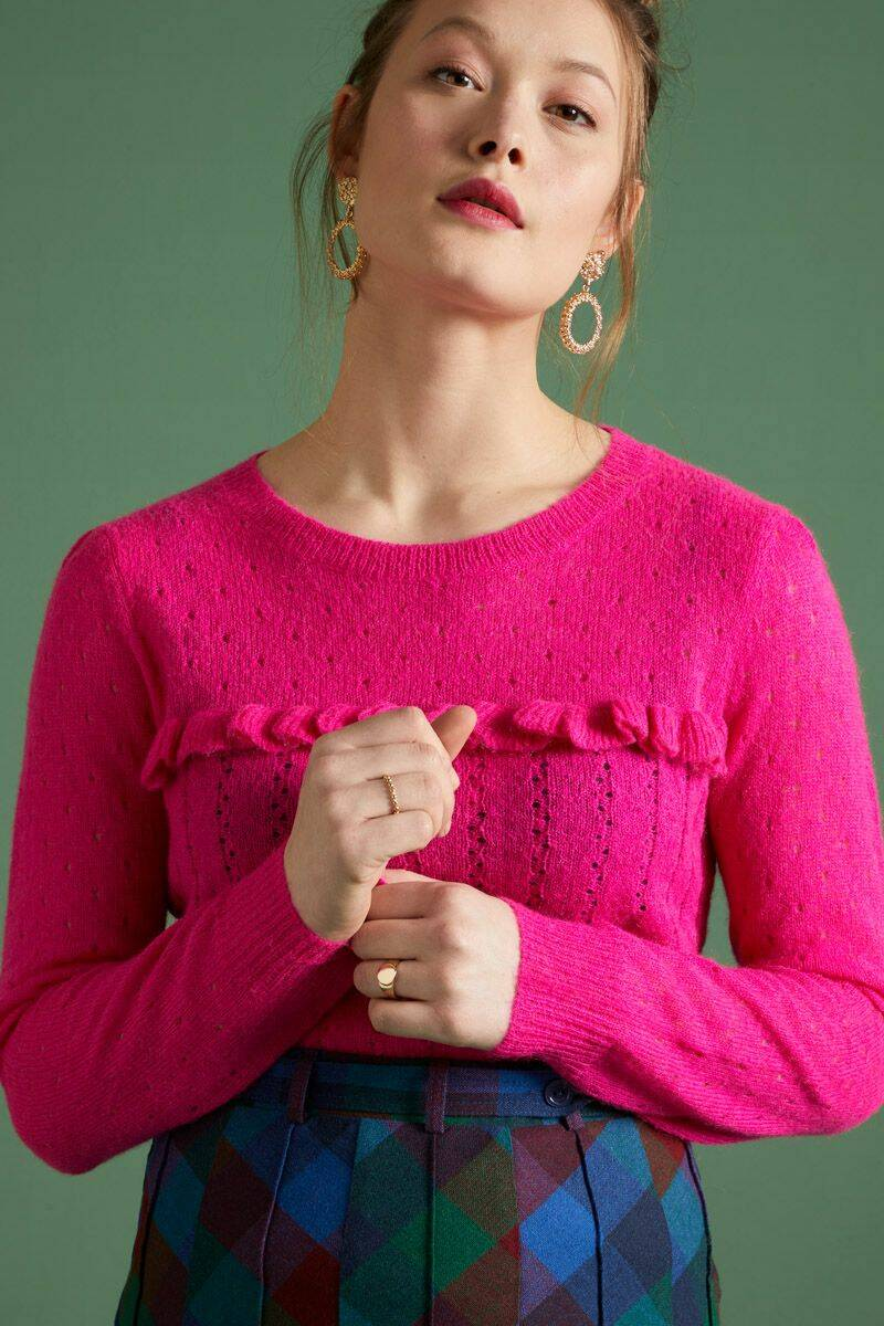 King Louie ruffle top fluffy 05356-753 neon pink