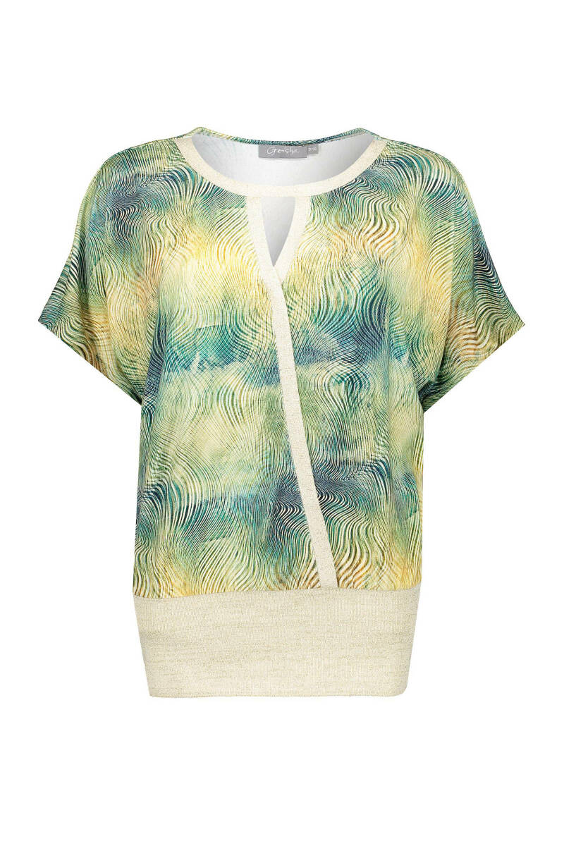 Geisha top lurex rib jersey shortsleeve ecru/green 03055-60