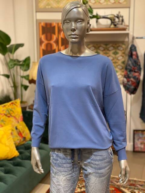 Loose fit trui 4 jeans blauw