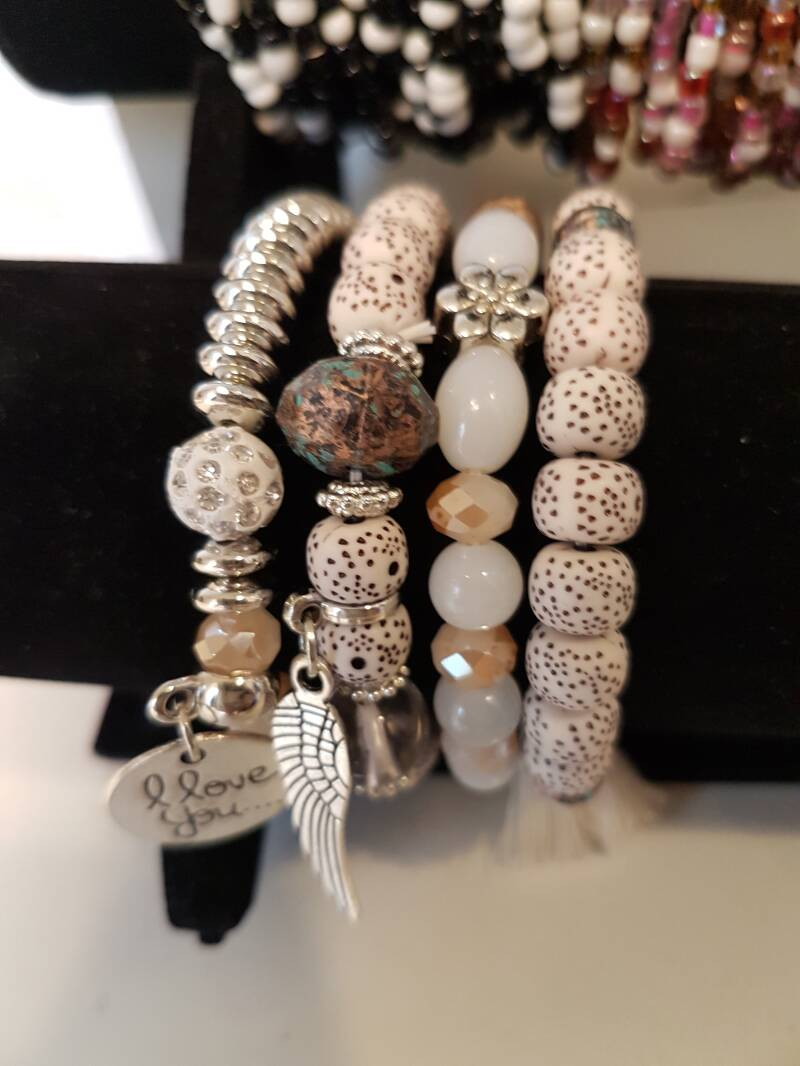 4 Armbandjes Mix&Match Naturel