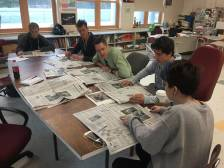 reading newspaper in class