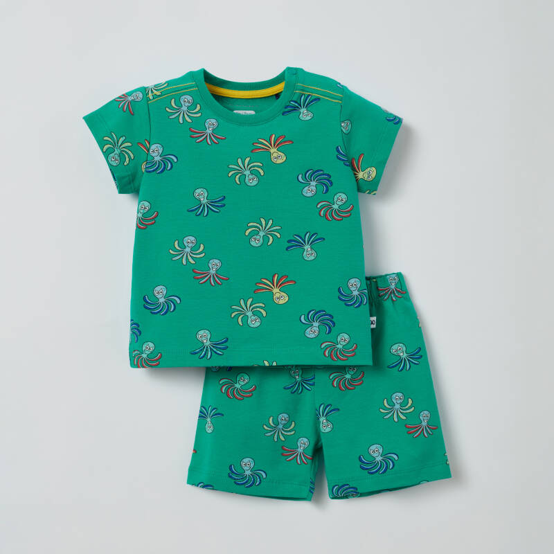Jongens Pyjama, groen all-over print - Octopus