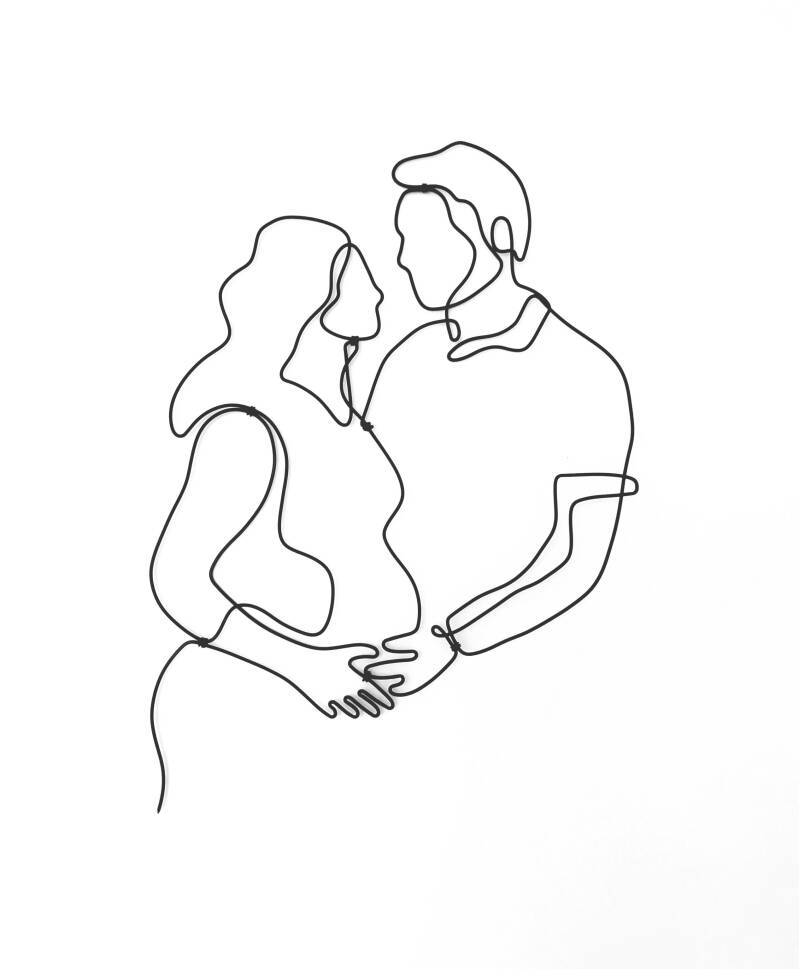 Expecting - Wall decoration from wire