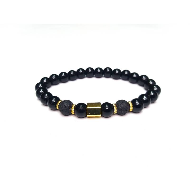 Bracelet lava gold & black