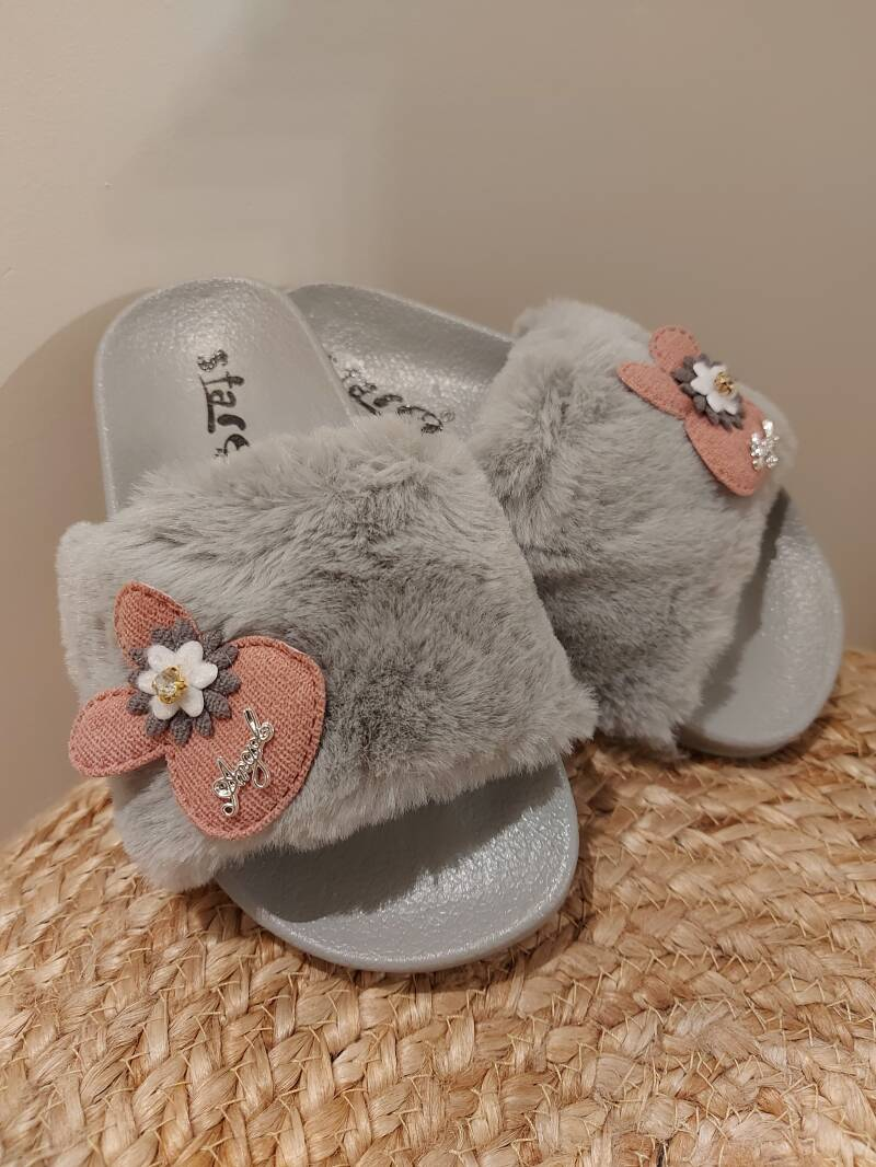 Fluffy slippers grijs