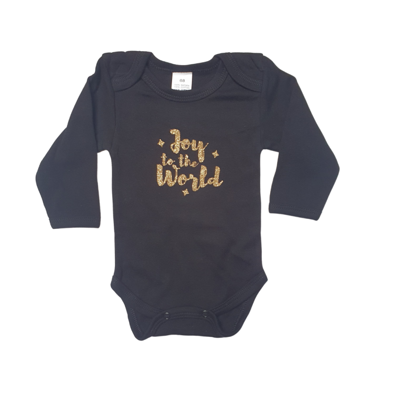 Joy To The World | Gold Glitters on Black Romper