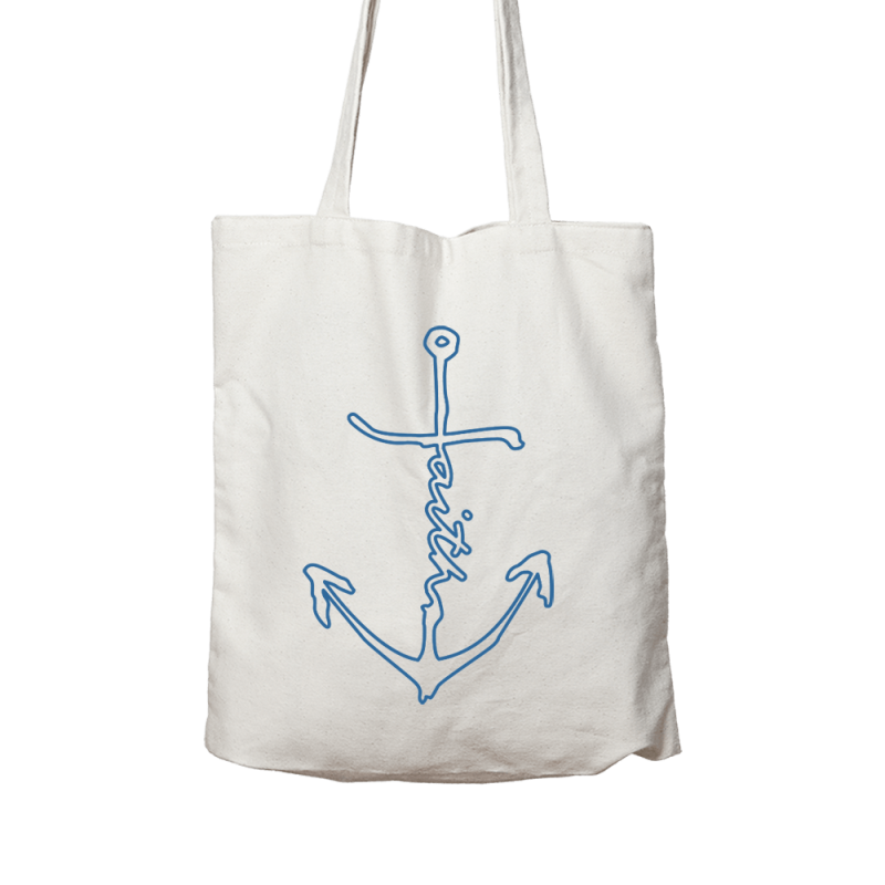 Outlined Faith Anchor // Linen Canvas