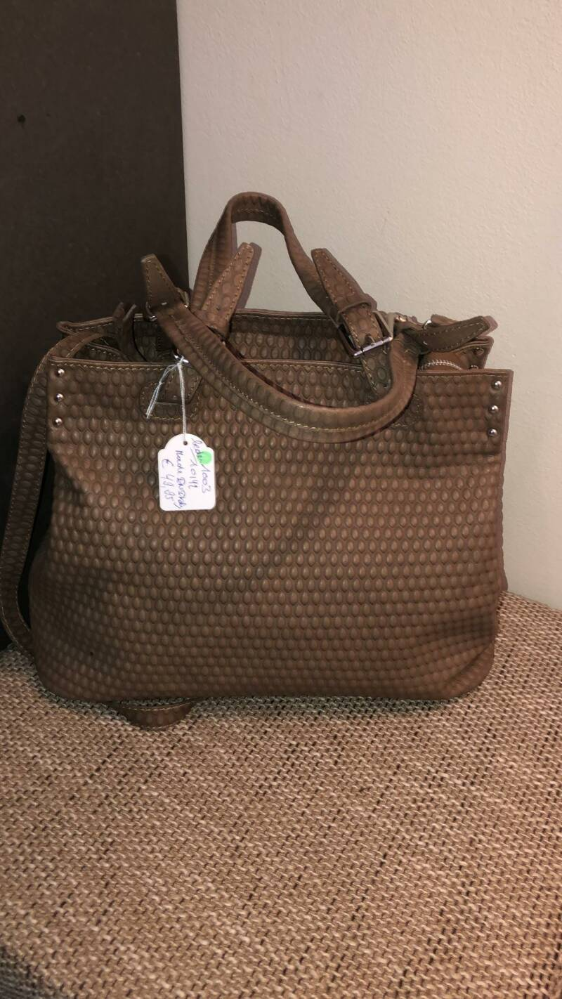 HANDTAS TAUPE  MADE IN ITALY