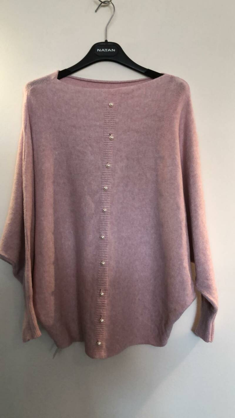 ROZE TRUI MET PARELS MADE IN ITALY SIZE M