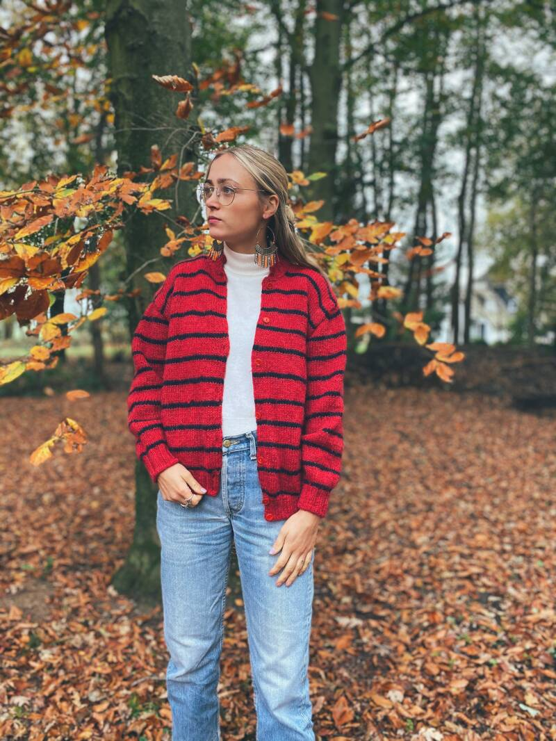 Mohair red striped vest