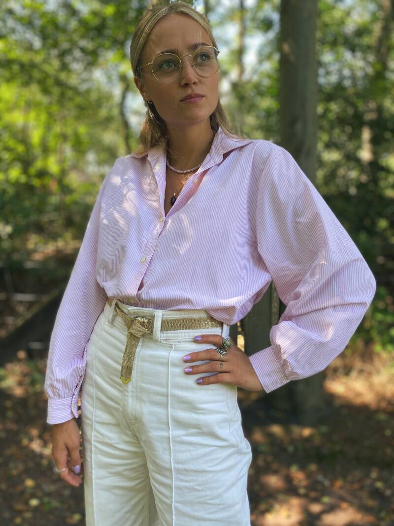 Embroided pink striped blouse puffy sleeve