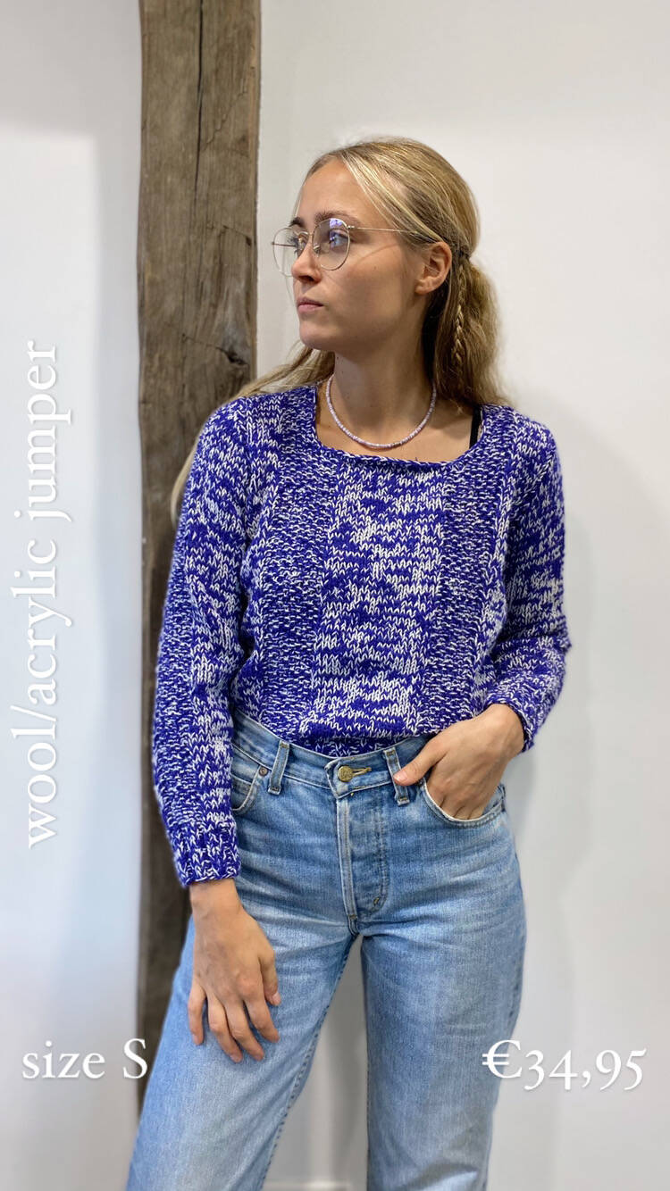 Purple knitted cotton jumper