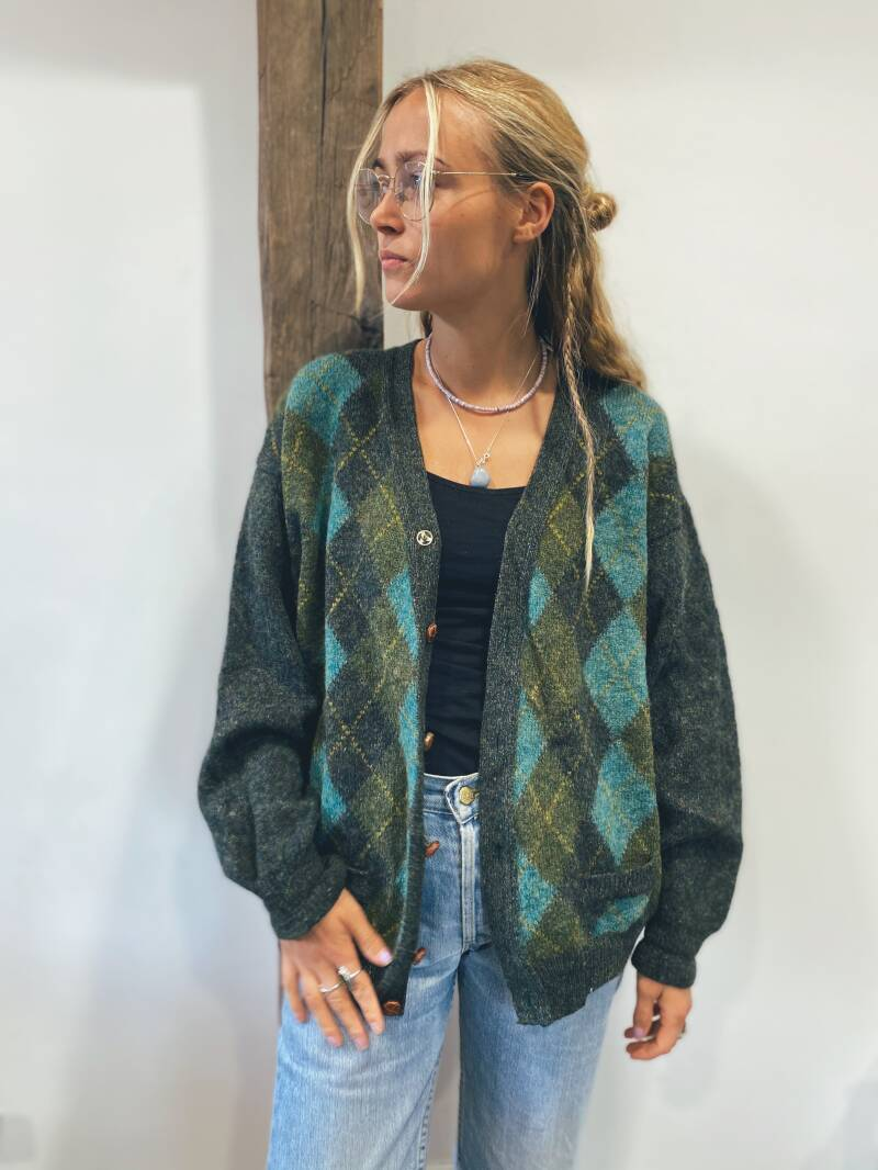 1970's plaid cardigan