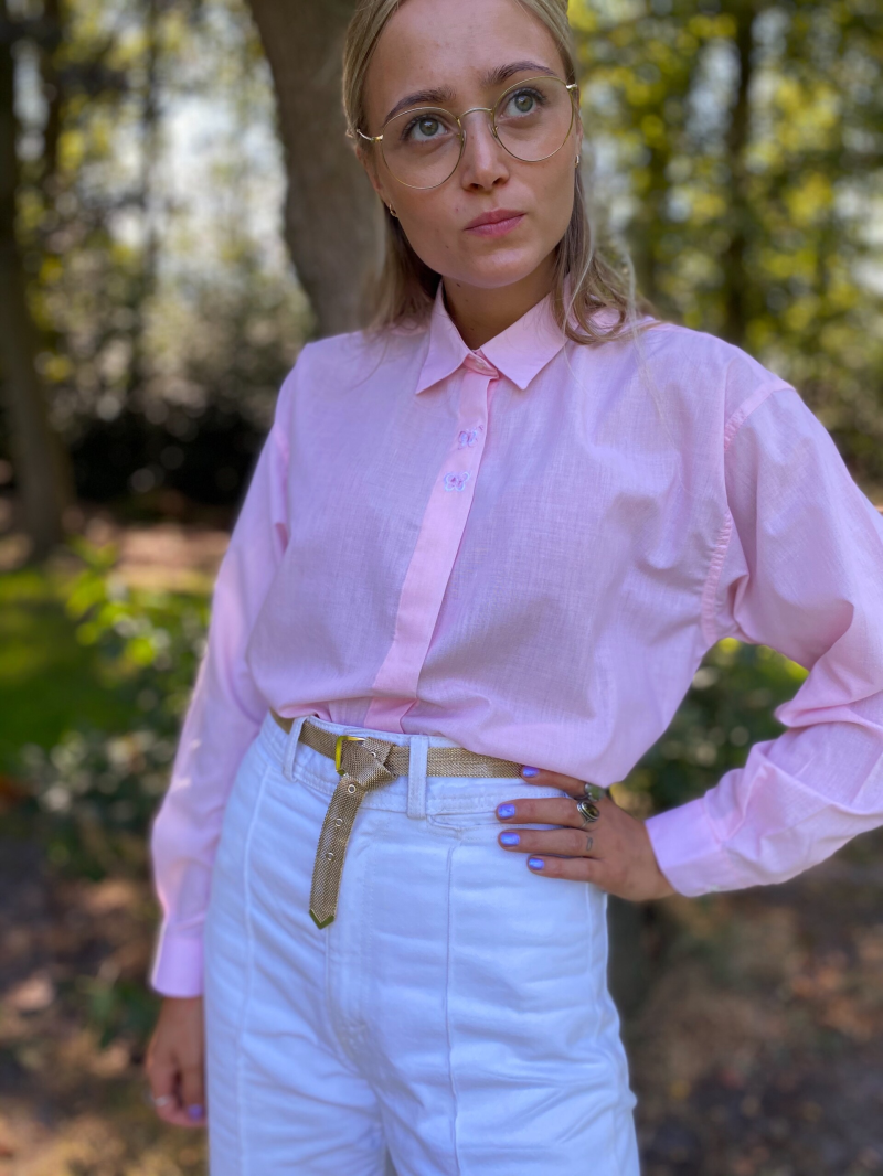Pink butterfly embroided blouse