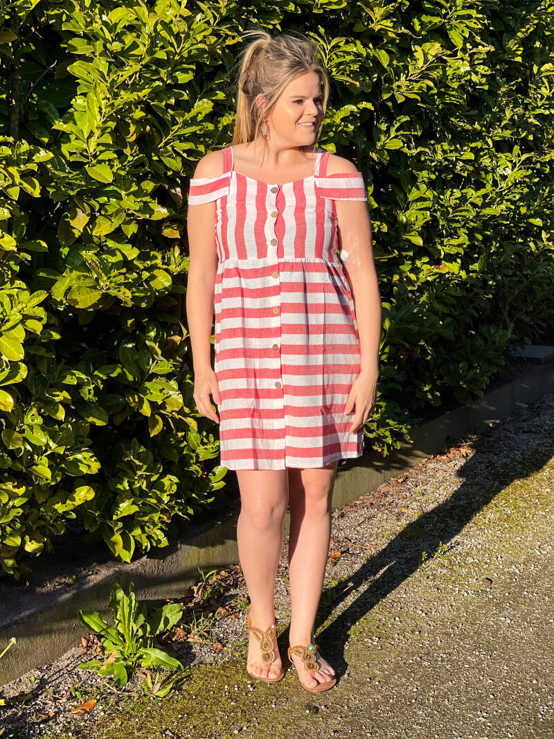 SW Button Dress Striped Red