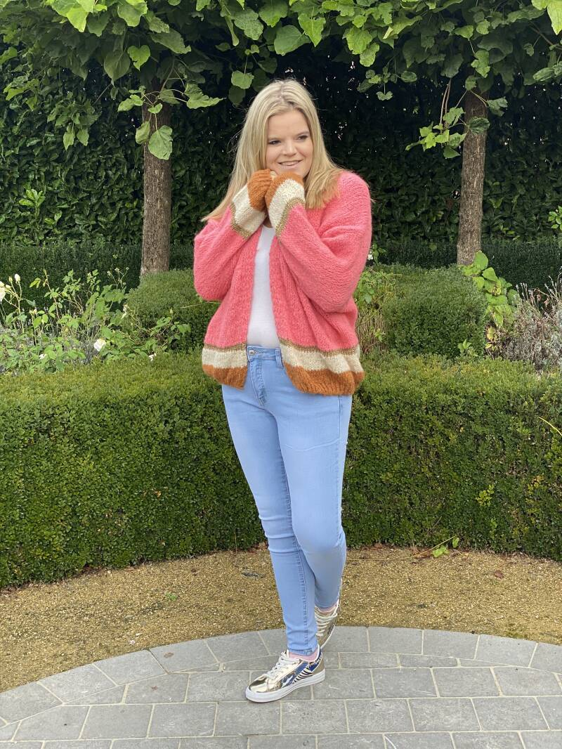 Cardigan White Touch Pink