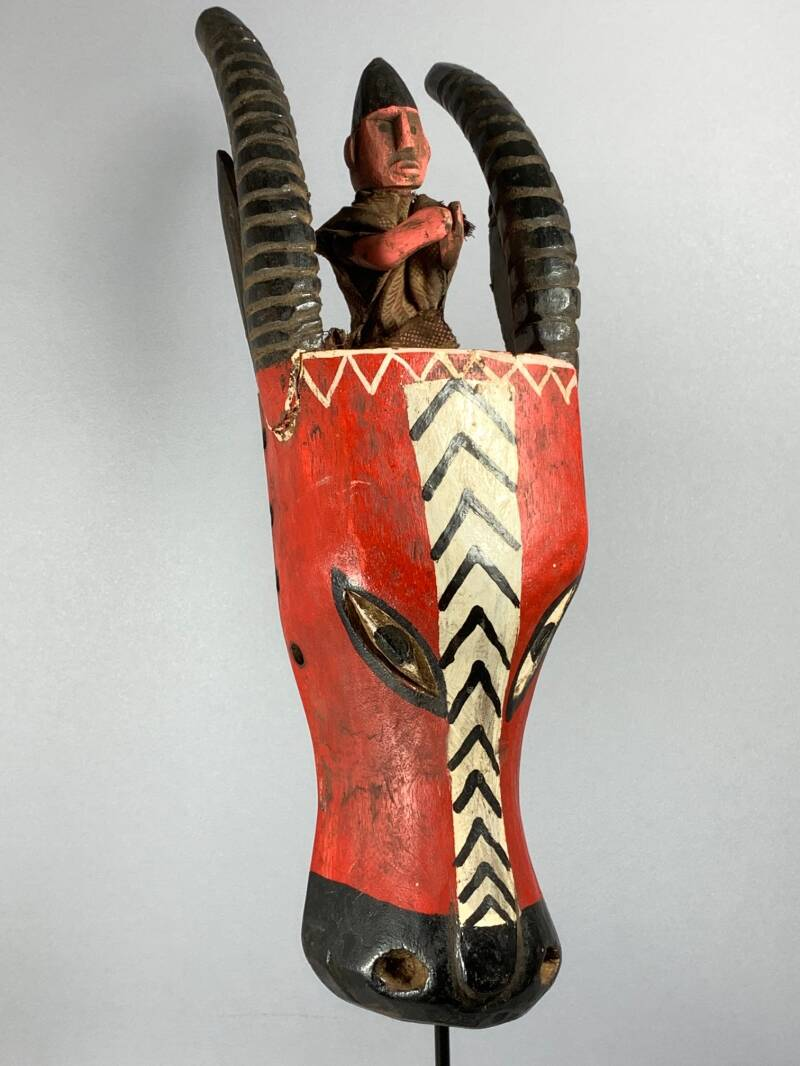 200732 - Tribal Used old African Bozo animal mask - Mali