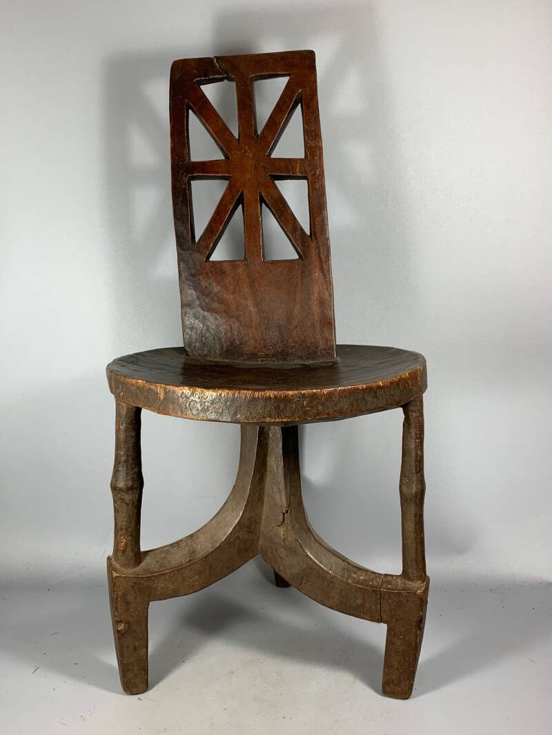 200802 - Old & Rare Tribal Used African Ethiopian stool - Ethiopia