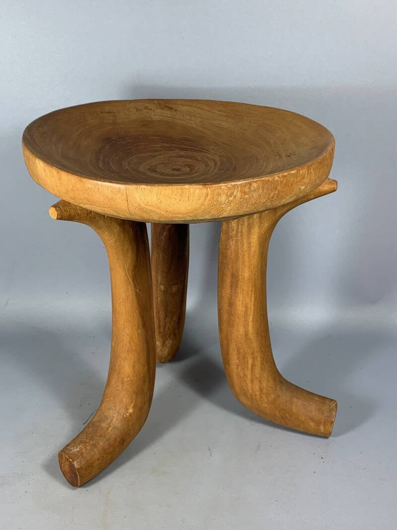 200805 - Old Tribal Used African Ethiopian 3-leg Gurage stool - Ethiopia