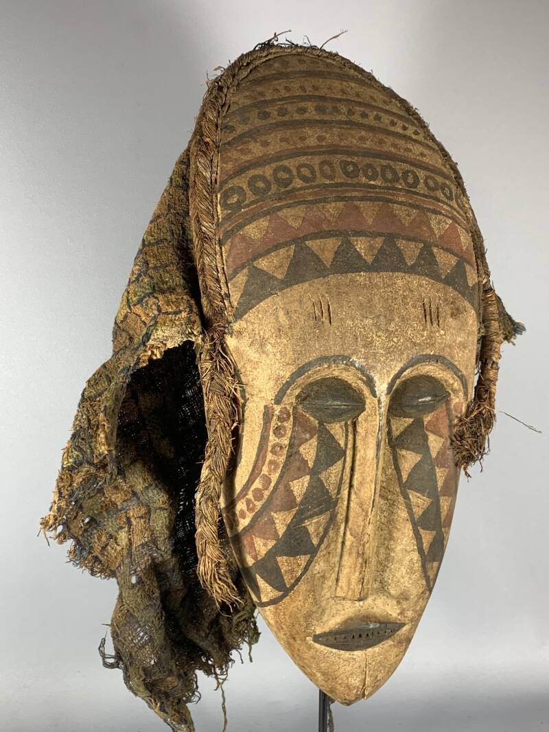 200826 - Old African Tribal used Kuba bwoom mask - Congo