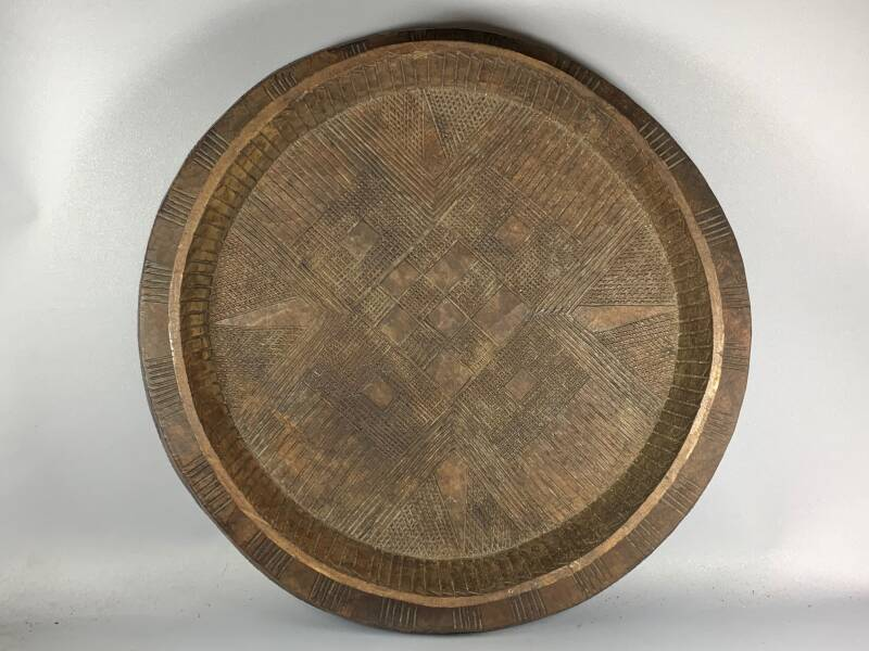 200901 Antique Gurage Tribe Sholla' Tree Injera Serving Platter Bowl - Ethiopia.