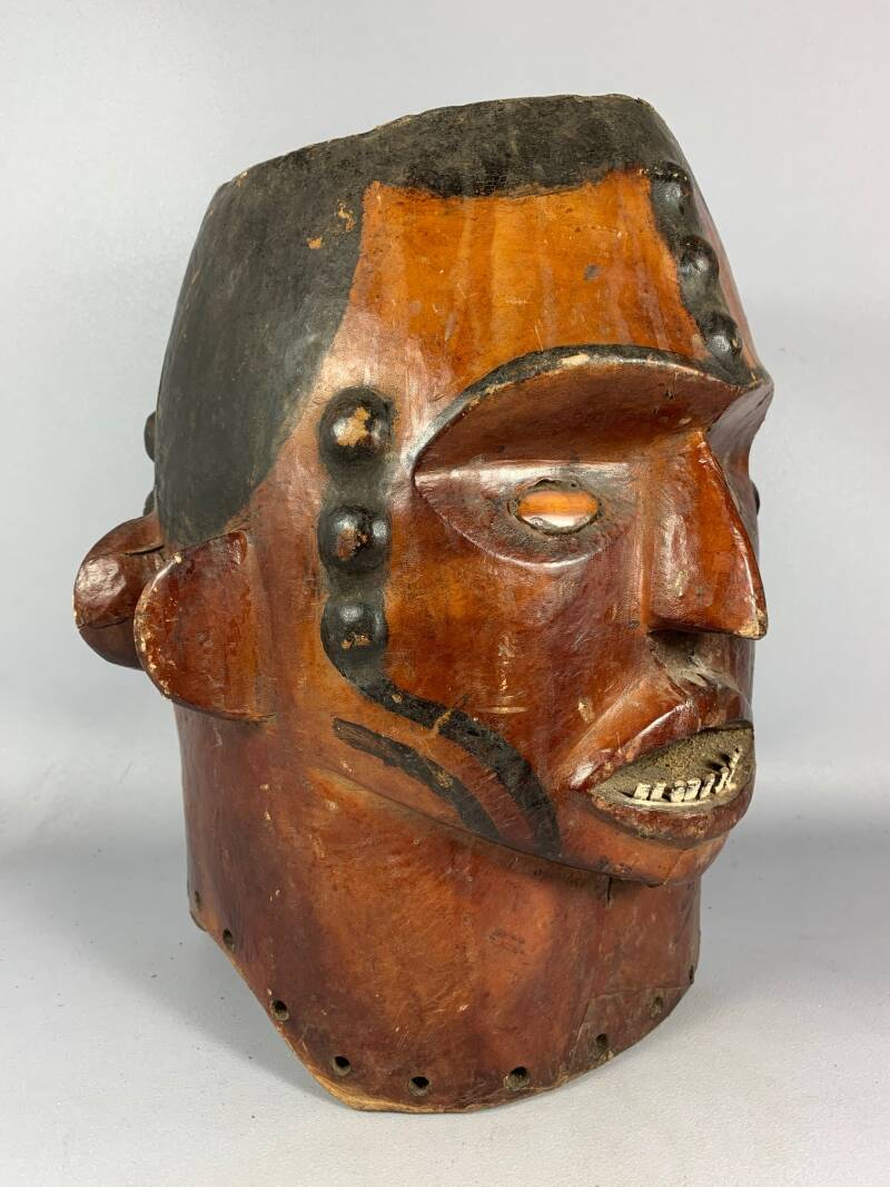 200921- Antique Tribal used Ekoi janiform head mask covered with hide - Nigeria.