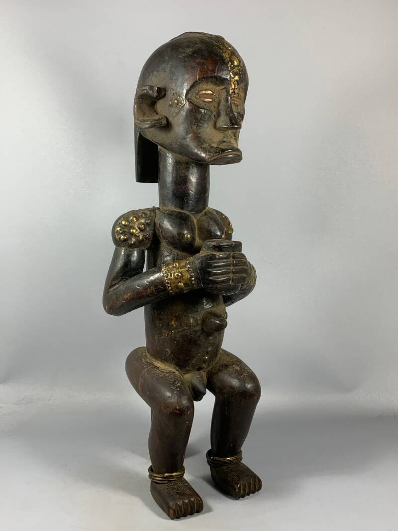 "200928 - Old & Tribal used African ""guardian byer"" statue from the Fang - Gabon."