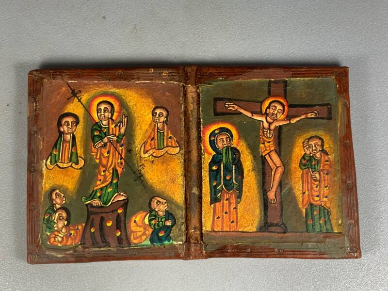 200938 - Ethiopian African wooden/leather handpainted coptic icon - Ethiopia.