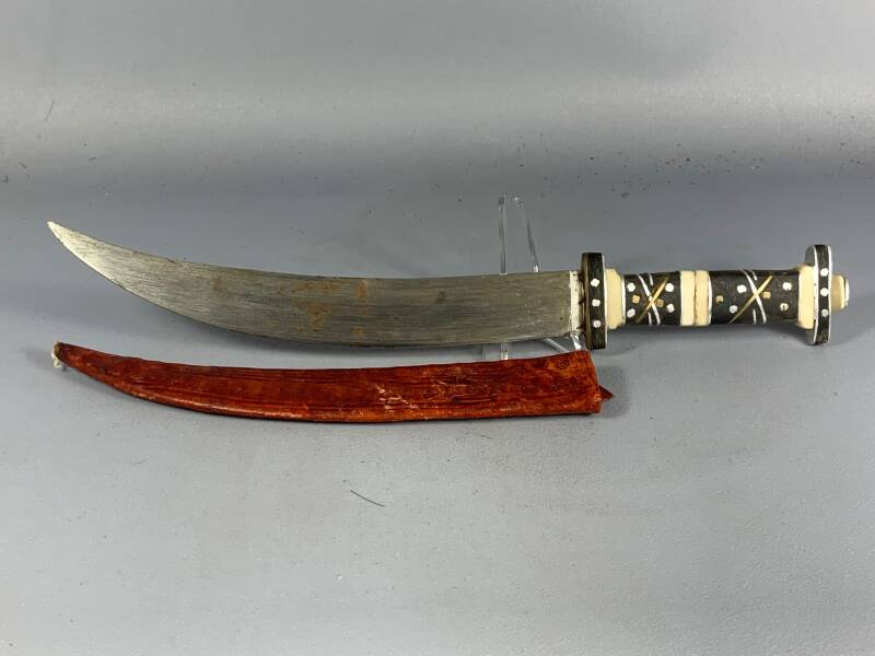 200904 - Tribal used Old African Ethiopian Afar knife with leather case - Ethiopia