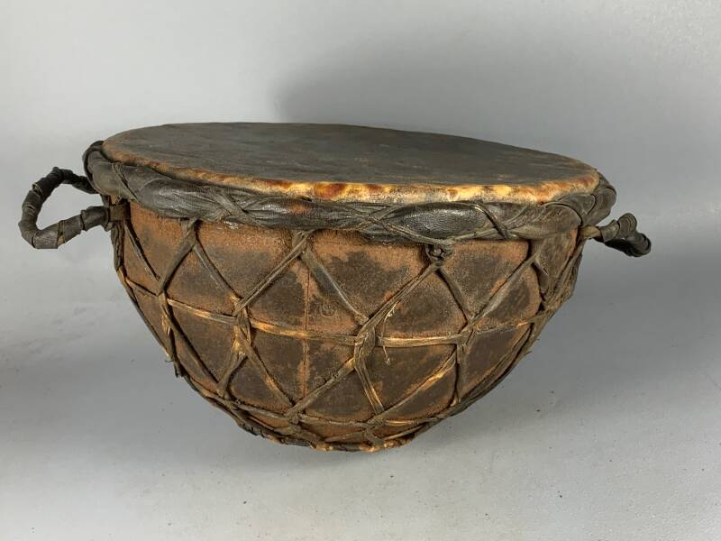 200961- Tribal used Traditional Iron / leather church Drum - Ethiopia.