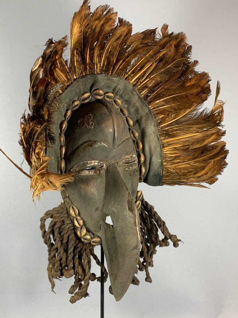 201004 - Tribal Used African Bird mask from the Dan People - Iv. Coast.