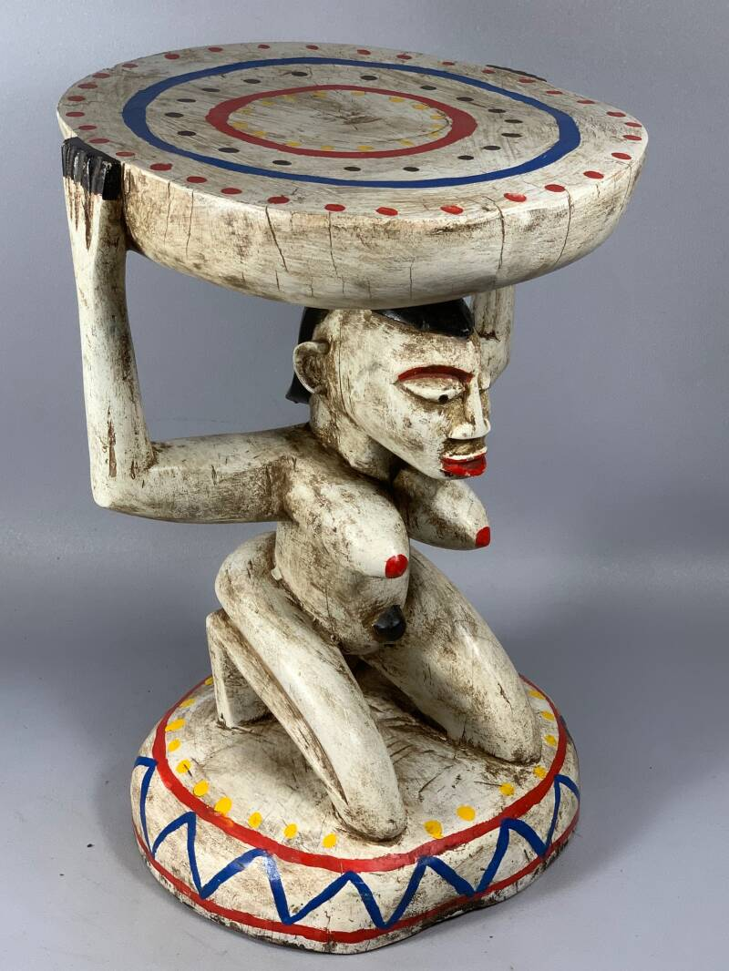 201023 - Tribal used African Old Baule stool - Iv. Coast.