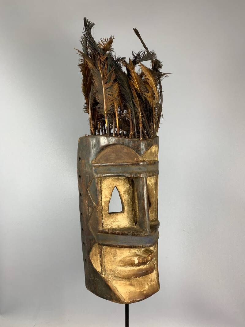 201033 - Old Tribal Used African Dogon Mask with feathers - Mali