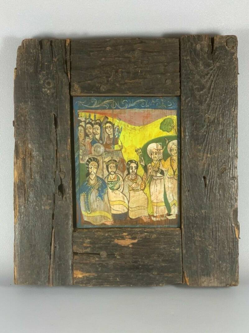 200246 - Antique very Rare 17th cent. wooden handpainted coptic icon - Ethiopia.