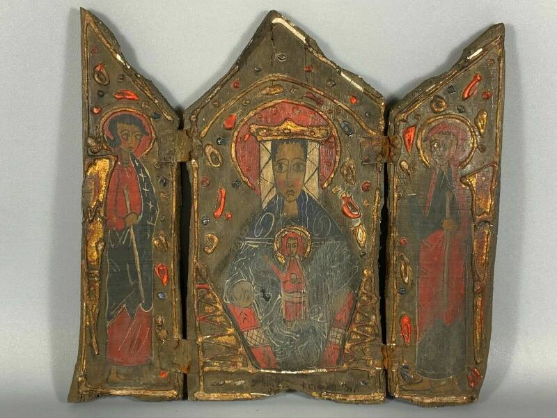 190911 - Antique Ethiopian 17th cent. wooden handpainted coptic icon - Ethiopia.