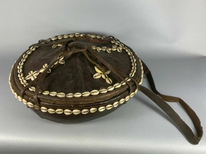200318 - Old Tribal used Traditional Ethiopian leather bread basket - Ethiopia.