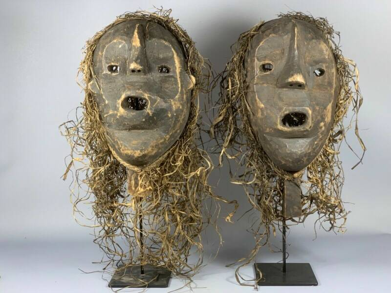 190324 - Tribal Used 2 Old Mask from the Bamileke with Raffia - Cameroon.