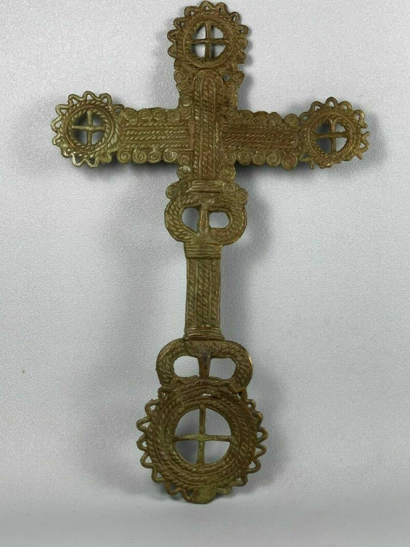 200124 - Antique 19th Century Ethiopian Coptic priest hand Cross - Ethiopia.