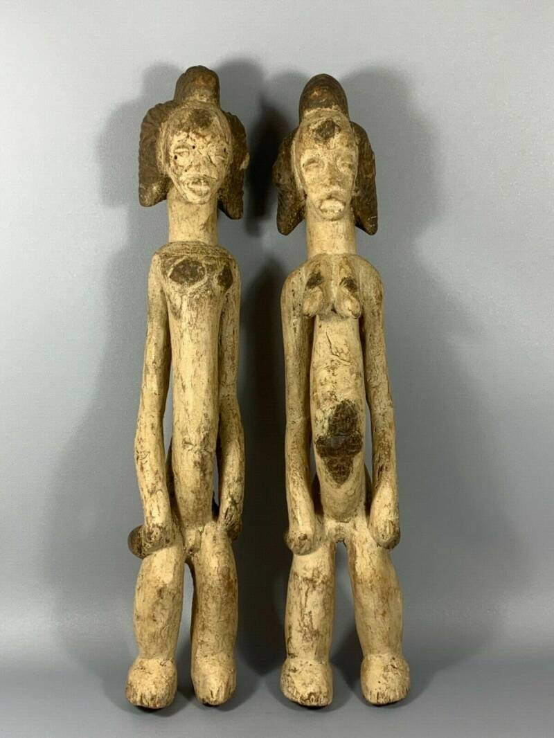 180112 - Large Tribal used Old African PUNU couple - Gabon.