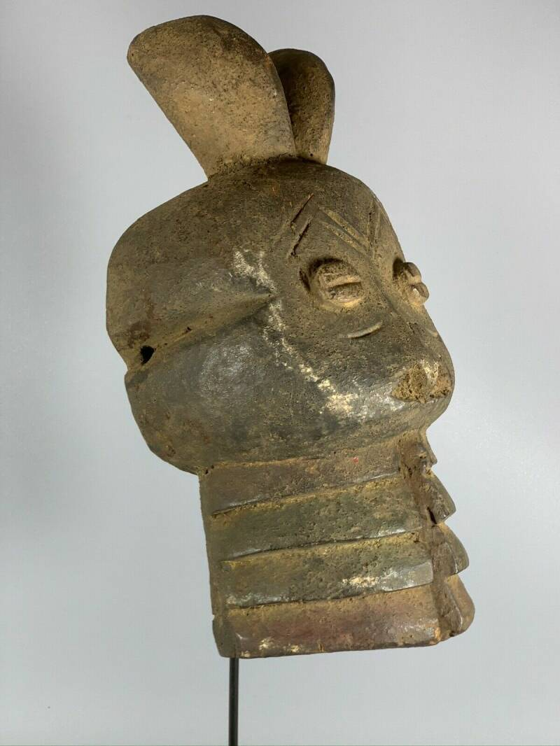 180358 - Rare & Old Tribal used African headdress Mambila mask - Cameroon.