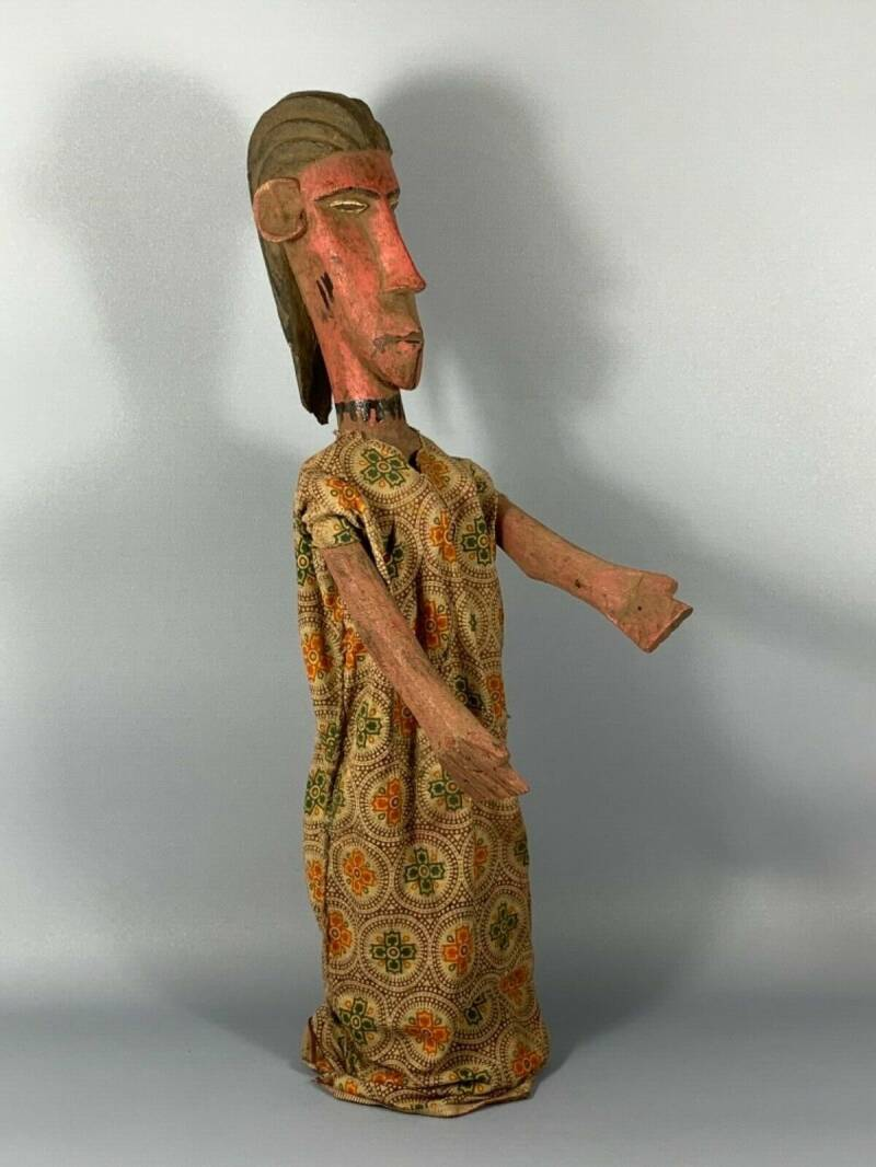 181018 - Large Tribal Used African Bozo puppet marionet - Mali